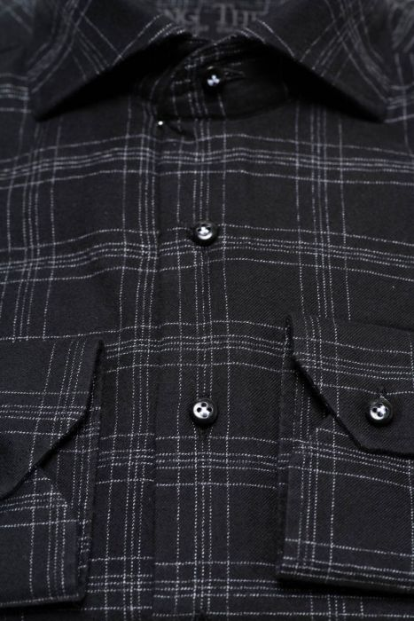 BT Casual Overhemd 100% Cotten Flanel Washed Zwart