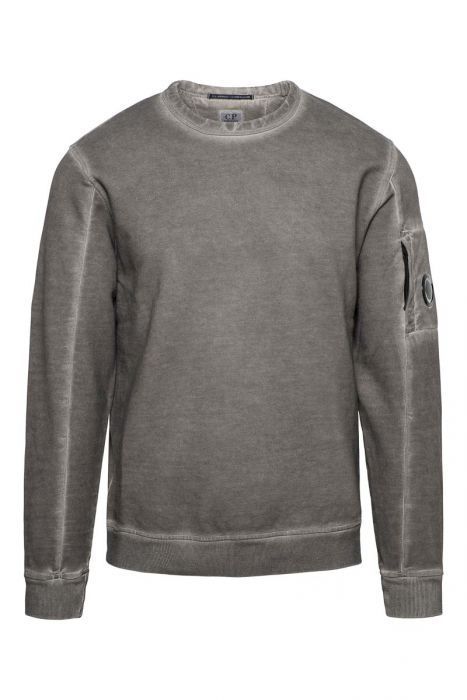 CP Company Sweater Crew Neck Piece Dyed donker zand