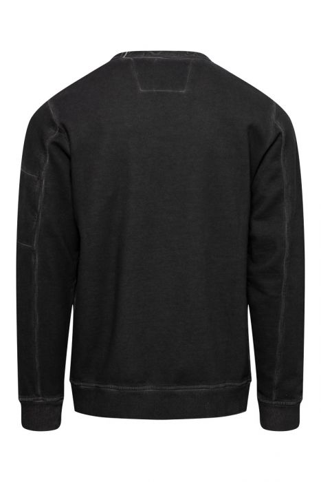 CP Company Sweater Crew Piece Dyed zwart