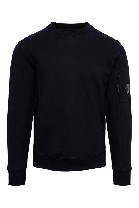 C.P. Company Crew Neck Sweater Cotton Fleece Donkerblauw