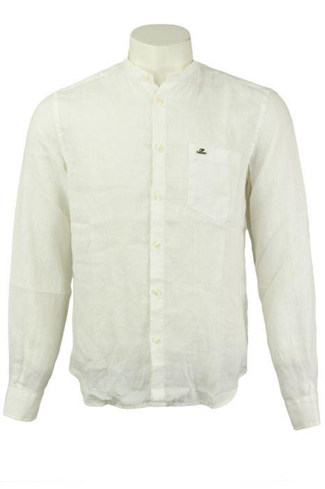 CP Company Linen Shirt Crewneck Collar White Gauze