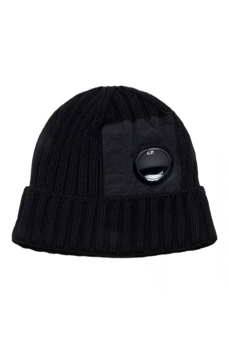 CP Company Muts Extrafine Merino wool Knit Cap zwart
