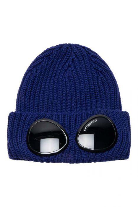 C.P. Company Muts Extrafine Merino wool Knit Cap Inktblauw