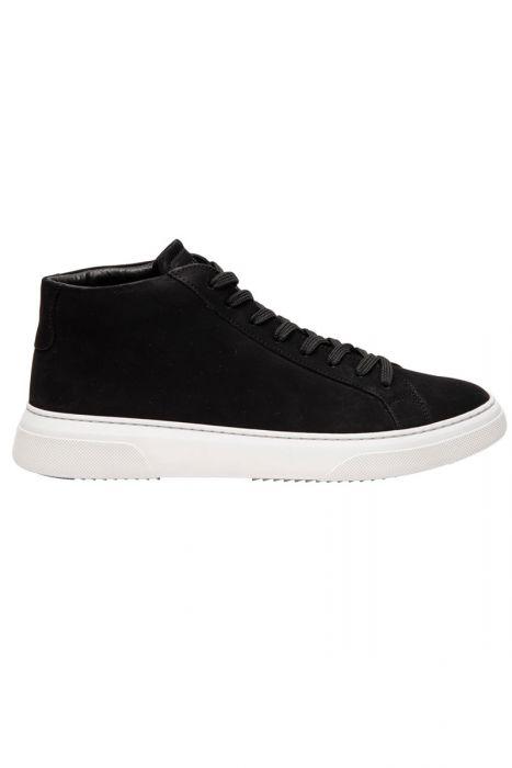 Garment Project Type Mid Sneaker Black Nubuck leat