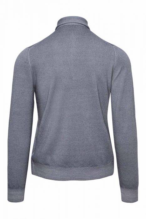 Gran Sasso 100% Merino Trui met Polo Kraag Wool Dyed in de kleur grijs blauw