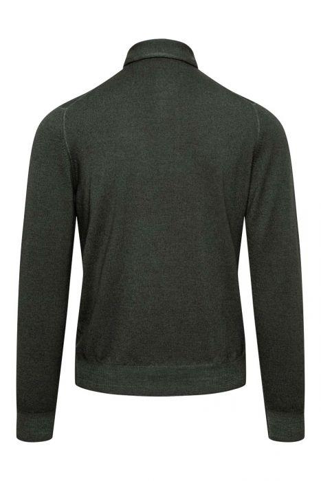 Gran Sasso 100% Merino Trui met Polo Kraag Wool Dyed