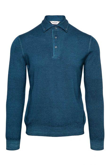 Gran Sasso Trui Polo Kraag 100% Merino Wool Dyed