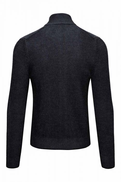 Gran Sasso Vest zip Dubbel Rib Breisel zwart