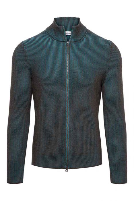 Gran Sasso Vest zip Dubbel Rib bruin en turquoise