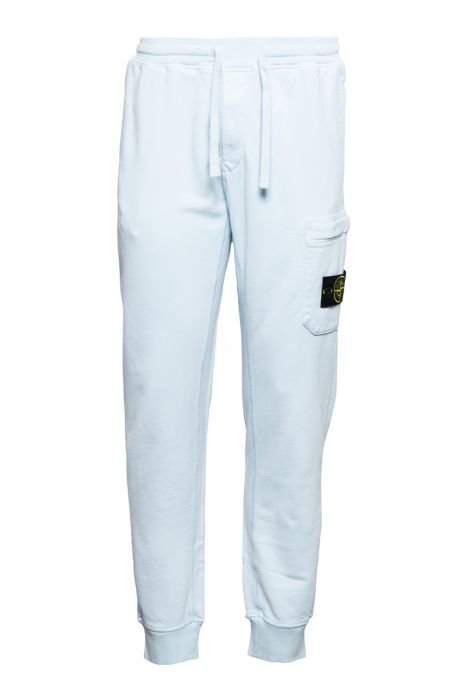Stone Island Broek 64551 Cotton Fleece Pants 100% Katoen Lichtblauw