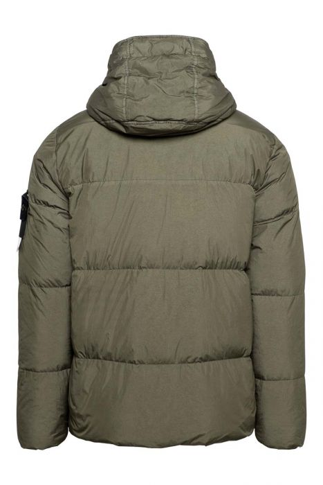 Stone Island Jas 40123 Jack Garment Dyed Crinkle Reps NY Down Bottle Green