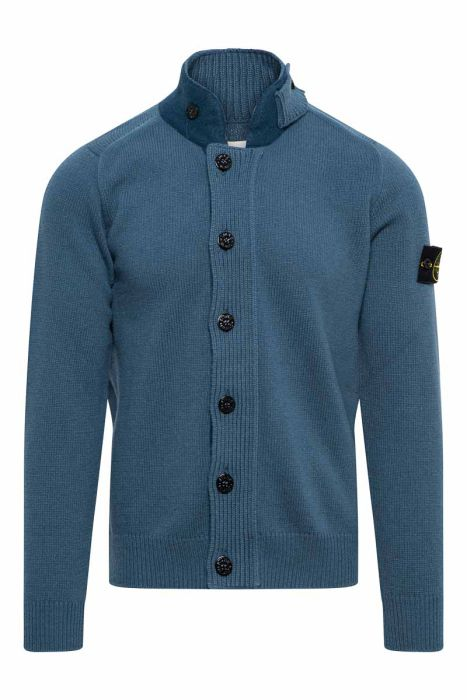 Stone Island Polo 547A3 Vest Neck Lambs Wool Mix Staalblauw