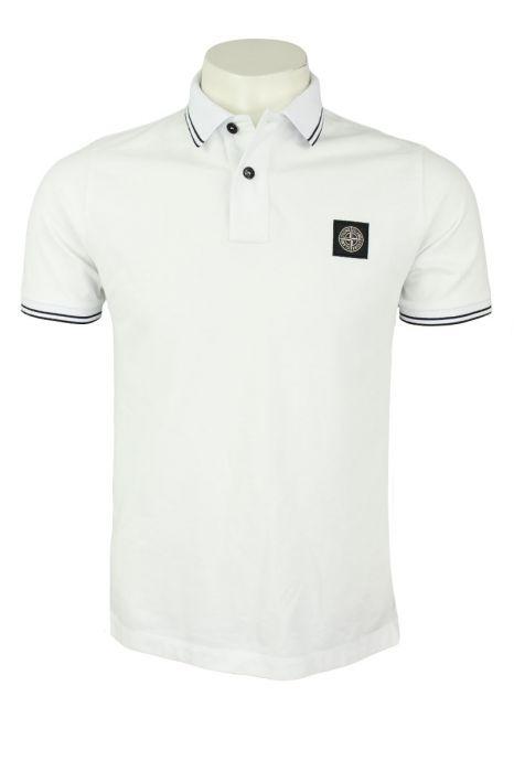 Stone Island Poloshirt 22S18 Korte Mouw Katoen Stretch Wit