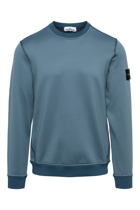Stone Island Sweater 63547 Crew Neck Cotton mix staalblauw