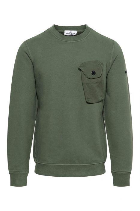 Stone Island Sweater Phone Cotton Pocket Groen