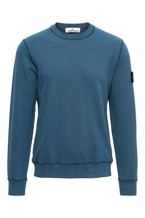 Stone Island Trui 63020 Sweater Crew Neck 100% Katoen Petrol Blauw