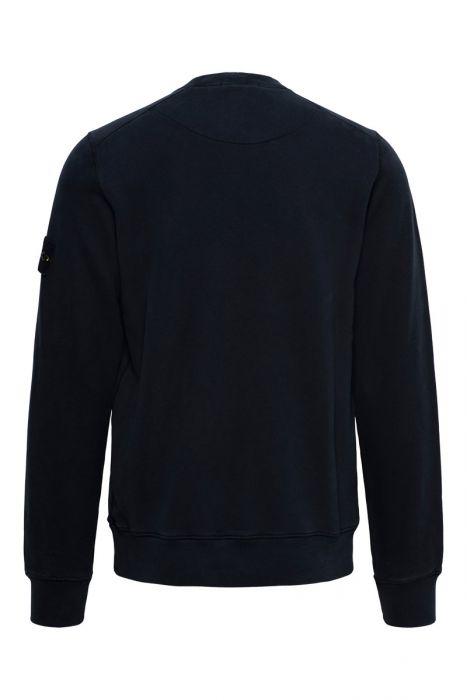 Stone Island Trui 63020 Sweater Crew Neck 100% Katoen Donkerblauw