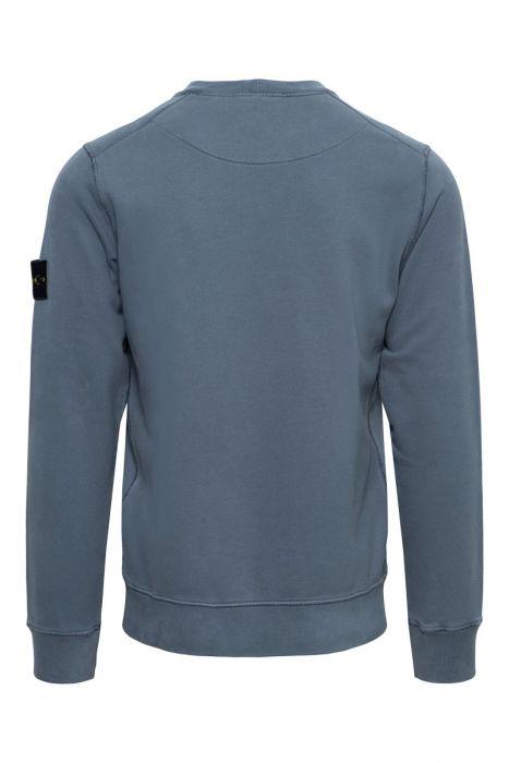 Stone Island Trui 63020 Sweater Crew Neck 100% Katoen Staalblauw