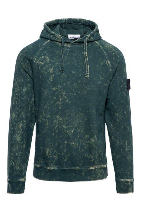 Stone Island Sweater Hoodie 61338 Cotton dust Donkergroen