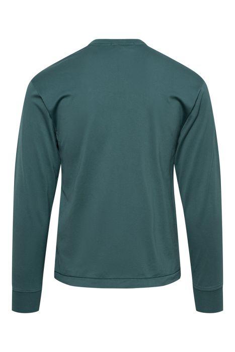 Stone Island T-Shirt 22713 Lange Mouw Gemerceriseerd Donkergroen