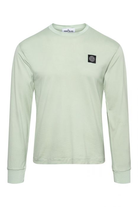 Stone Island T-Shirt 22713 Lange Mouw Gemerceriseerd Lichtgroen