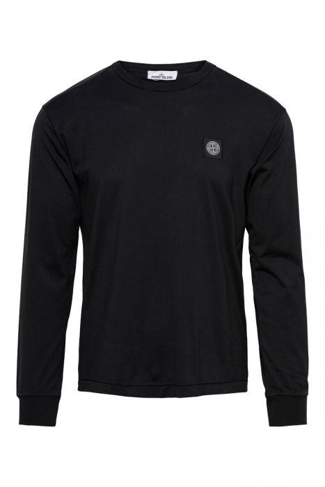Stone Island T-Shirt 22713 Lange Mouw Slim fit Cotton Zwart