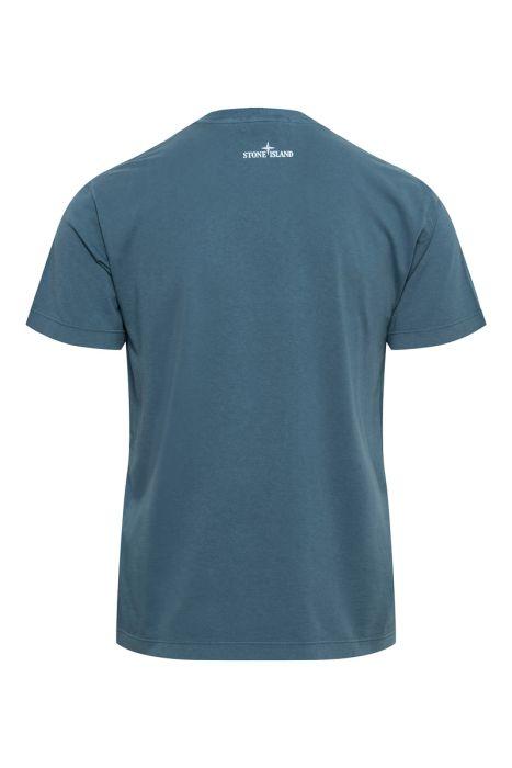 Stone Island T-Shirt 2NS78 Korte Mouw Cotton Print Staalblauw