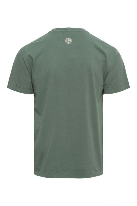 Stone Island T-Shirt 2NS82 Korte Mouw Cotton Print Olijfgroen