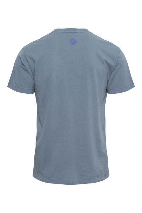Stone Island T-Shirt 2NS82 Korte Mouw Cotton Print Staalblauw