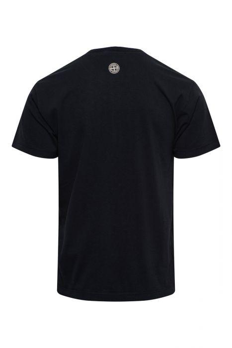 Stone Island T-Shirt 2NS82 Korte Mouw Cotton Print Zwart