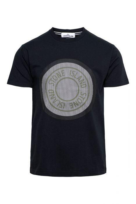 Stone Island T-Shirt NS89 Korte Mouw Cotton Print Donkerblauw