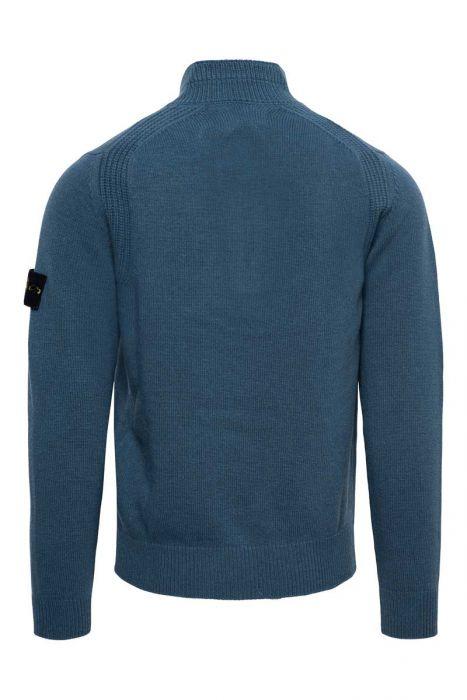 Stone Island Trui 540A3 Polo Neck Lambs Wool Mix Staalblauw