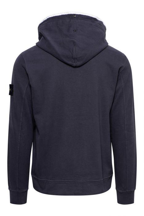 Stone Island Trui 60620 Sweater Hoody 100% Katoen Donkerblauw