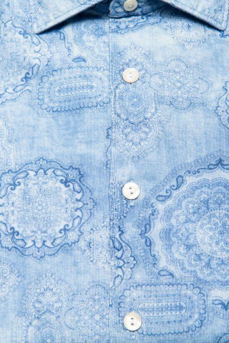 Tintoria Mattei Overhemd 100% Katoen Rib Delftsbla