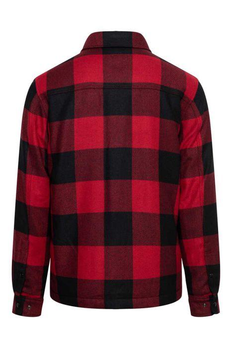 Woolrich Alasken Wool Overshirt Dons Gevoerd rood geblokt